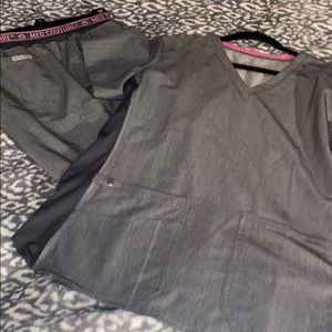 Med couture gray scrub set large